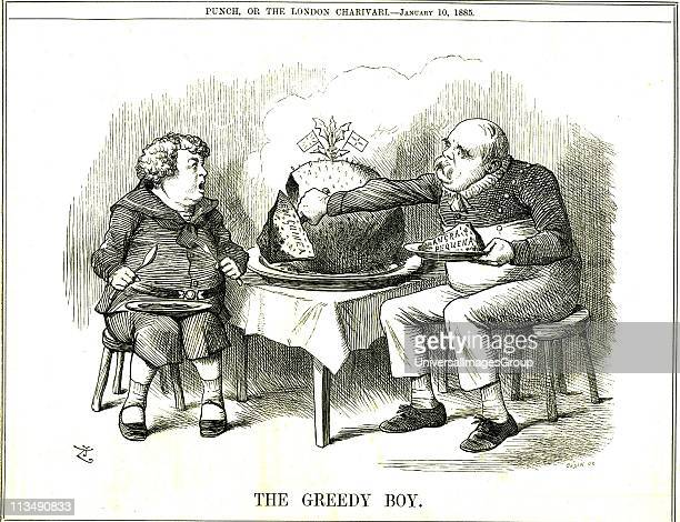 The Greedy Boy' cartoon by John Tenniel from Punch London 10 January 1885 commenting on Germany's colonialism and showing a young John Bull horrified...