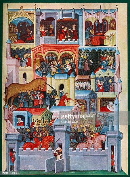 The Greek capture of Troy Medieval illumination including scenes featuring the Trojan Horse and the death of Priam Manuscript miniature of the 14th...