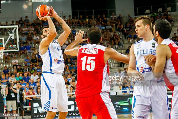 The greek center Ioannis Bourousis moves the ball to the basket in the match between Greece and Iran at 2016 FIBA Olympic Qualifying Tournament in...