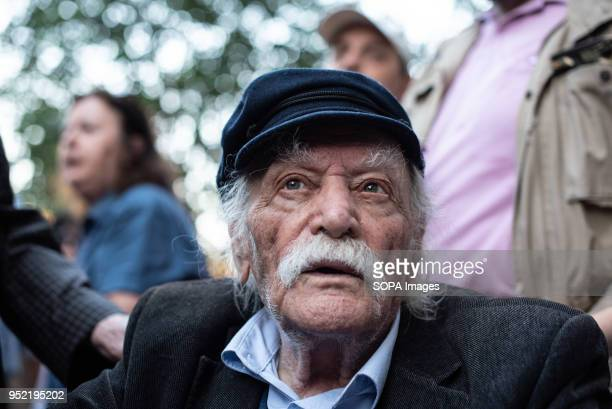 The Greek hero of National Resistance Manolis Glezos seen during the demonstration First gathering at the Unknown Soldier's Monument the march has...