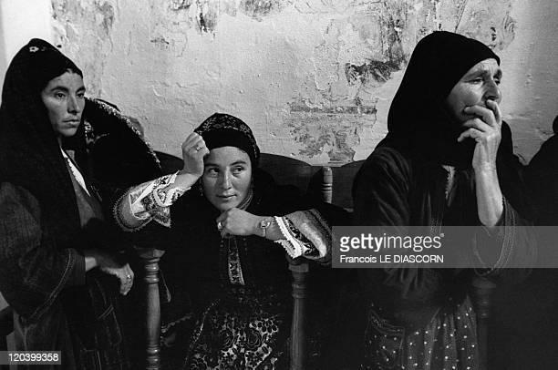 The Greek islands a vanishing world in Karpathos Greece on April 01 1980 Easter ceremony in the church of Olympos village island of Karpathos Women...