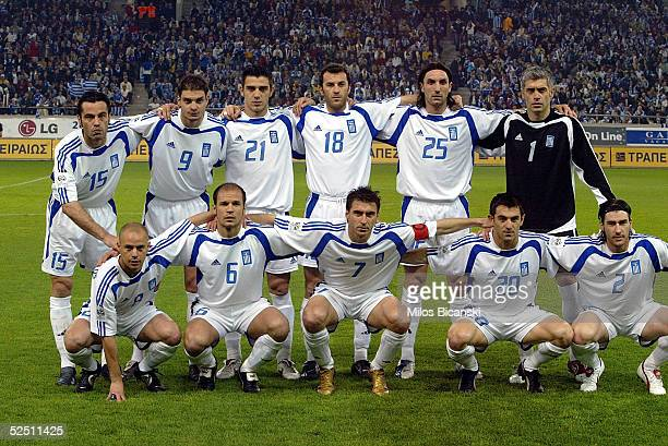 The Greek national football team pose together before their 2006 World Cup qualification football match against Albania on March 30 2005 at Giorgos...