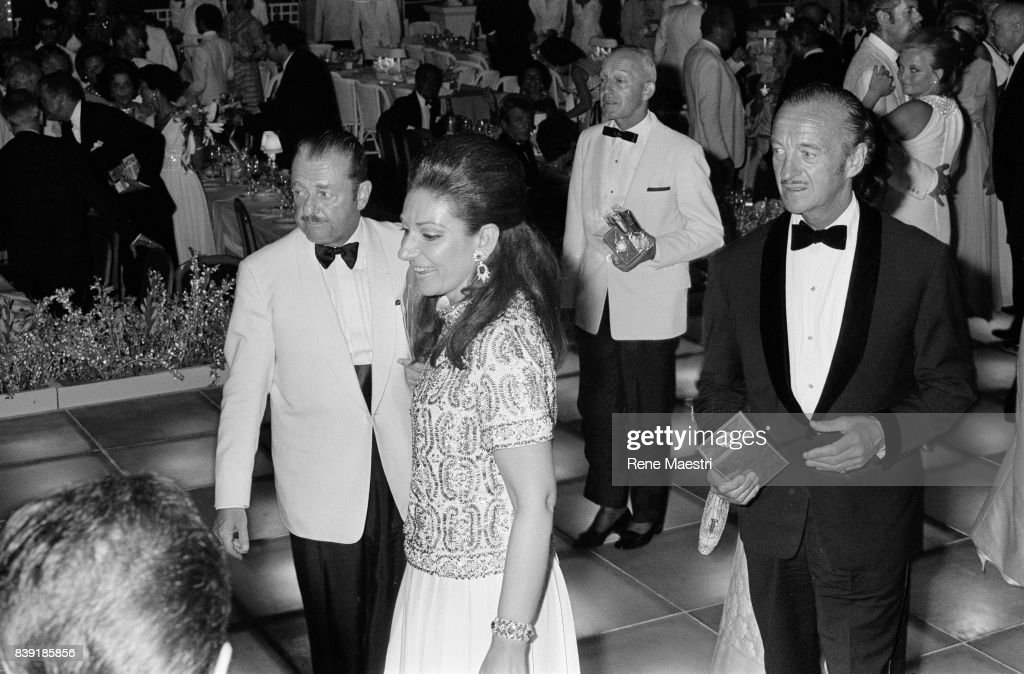 The Greek Opera singer Maria Callas and British actor David Niven at the Red Cross Ball given by Princess Grace and Prince Rainier in Monaco, October 1970