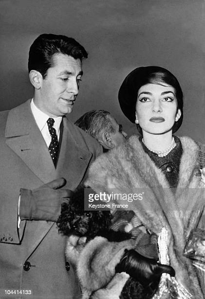 The Greek opera singer Maria CALLAS and the French singer JeanClaude PASCAL at Orly on January 16 1958