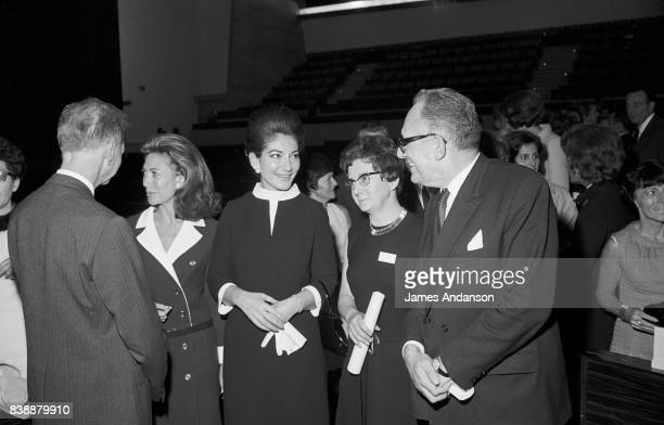 The Greek Opera singer Maria Callas in the centre at a meeting for medical research at UNESCO in Paris 11st October 1968