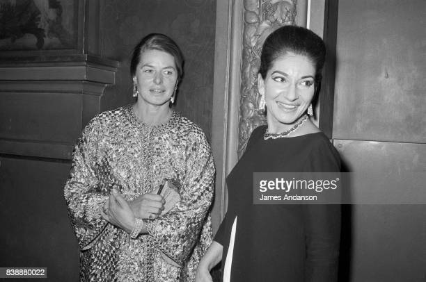 The Greek Opera singer Maria Callas on the right with the swedish actress Ingrid Bergman at the Opera in Paris 15th October 1968