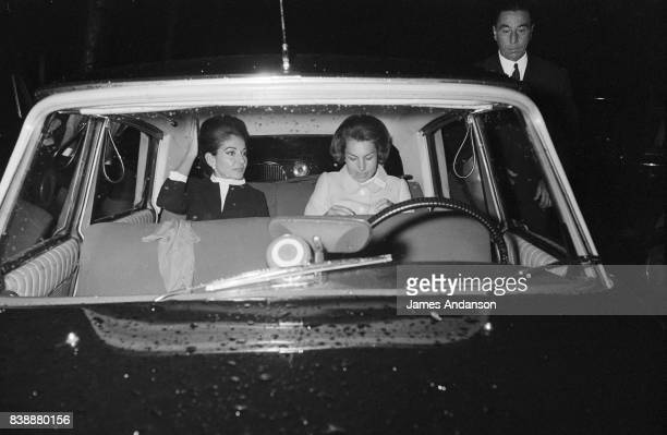 The Greek Opera singer Maria Callas with Liliane Bettencourt arrive at a meeting for medical research at UNESCO in Paris 11st October 1968