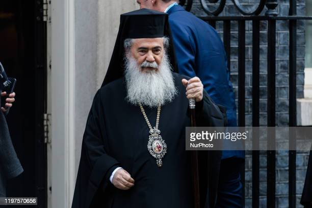 The Greek Orthodox Patriarch of Jerusalem, Theophilos III, arrives for a meeting in Downing Street on 29 January, 2020 in London, England.