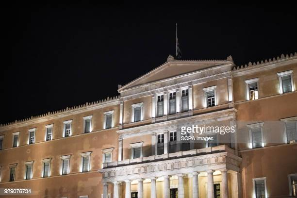 The Greek parliament building seen at night