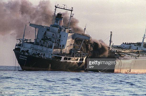The Greek registeredtanker Adriande is pictured just after she was attacked for the second time in one day by Iranians 15 December 1987 off the coast...