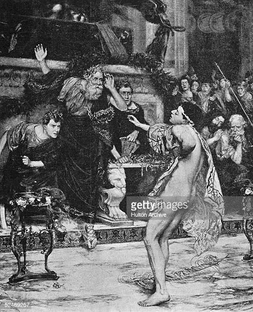 The Greek runner Ladas falls dead as he goes to receive his crown at Olympia circa 450 BC From a painting by Frank Moss Bennett