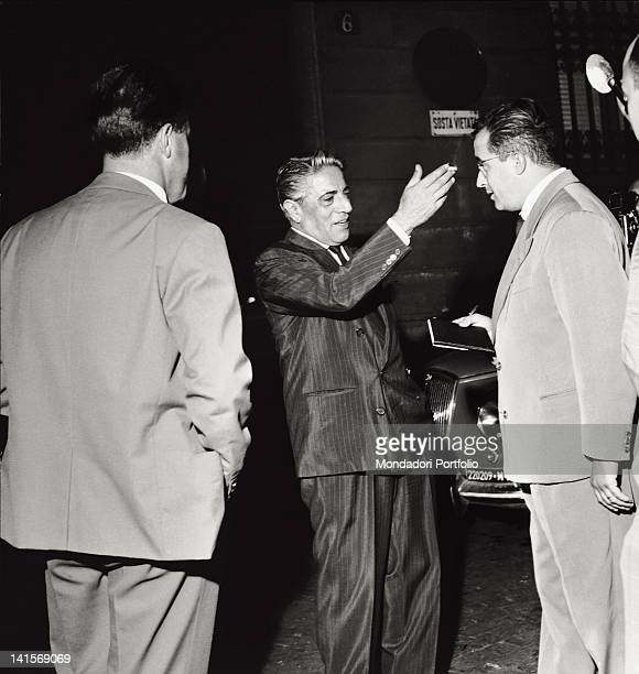 The Greek shipowner Aristoteles Onassis is interviewed by journalists after the news of Maria Callas separation from her husband Italy 1959