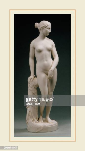 The Greek Slave Made in England, American, Parian porcelain, H. 14 1/2 in. ; Diam. 4 in. , Ceramics, After Hiram Powers , Beginning in the late...