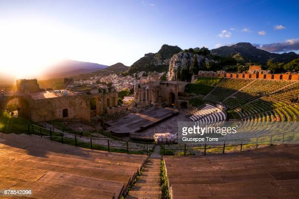 the greek theater - taormina stock pictures, royalty-free photos & images