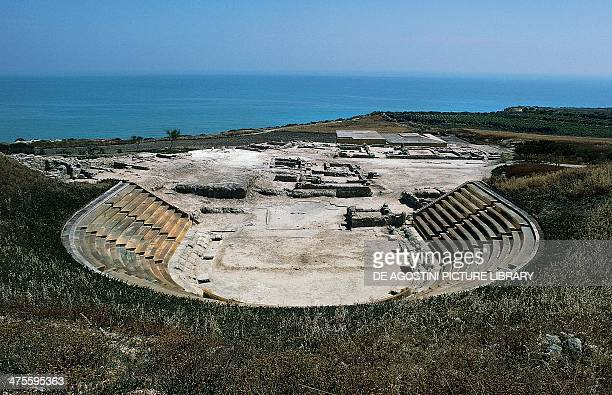 The Greek theatre and the auditorium which opens onto the Mediterranean Sea Heraclea Minoa Agrigento Sicily Italy Ancient Greek civilisation 5th...