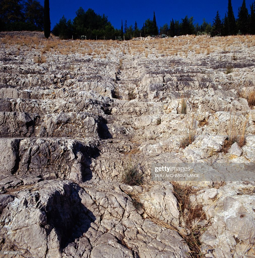 Greek Theatre on Larissa hill, Argos, Peloponnese : News Photo