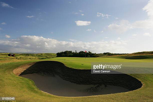The green and bunkers on the par 3 4th hole on the Royal Liverpool Golf Course, on June 10, 2004 in Hoylake, England.