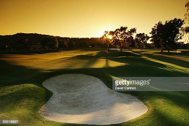 The green at sunset 448 yard par 4 18th hole on the Moon Valley Country Club Course on April 02 in Phoenix Arizona United States