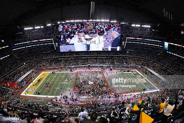 The Green Bay Packers celebrate defeating the Pittsburgh Steelers 31 to 25 in Super Bowl XLV at Cowboys Stadium on February 6 2011 in Arlington Texas