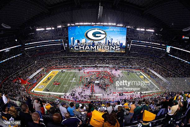 The Green Bay Packers celebrates after the Green Bay Packers defeated the Pittsburgh Steelers 31 to 25 in Super Bowl XLV at Cowboys Stadium on...