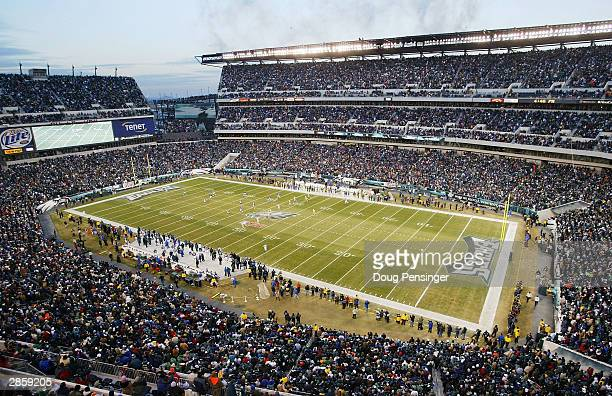 The Green Bay Packers kickoff the football to the Philadelphia Eagles to start the game during the NFC divisional playoffs on January 11, 2004 at...