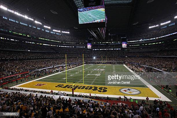 The Green Bay Packers kickoff to start the game against the Pittsburgh Steelers during Super Bowl XLV at Cowboys Stadium on February 6, 2011 in...