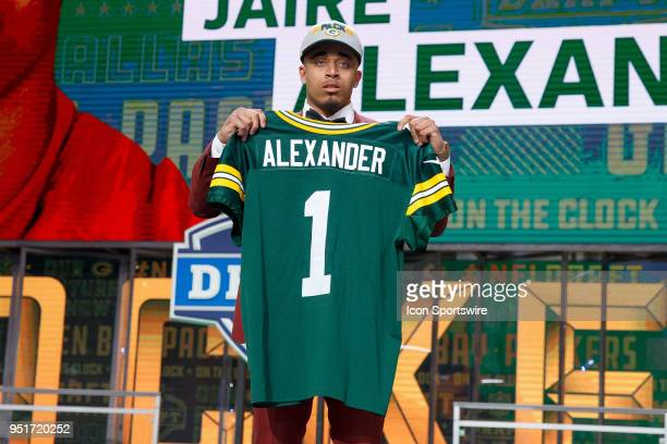 The Green Bay Packers select Louisville Cornerback Jaire Alexander eighteenth overall during the first round of the NFL Draft on April 26, 2018 at...