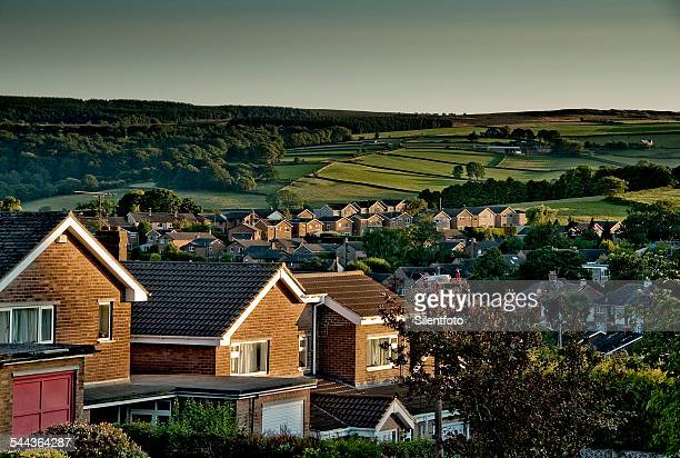 the green belt begins - sheffield stock pictures, royalty-free photos & images