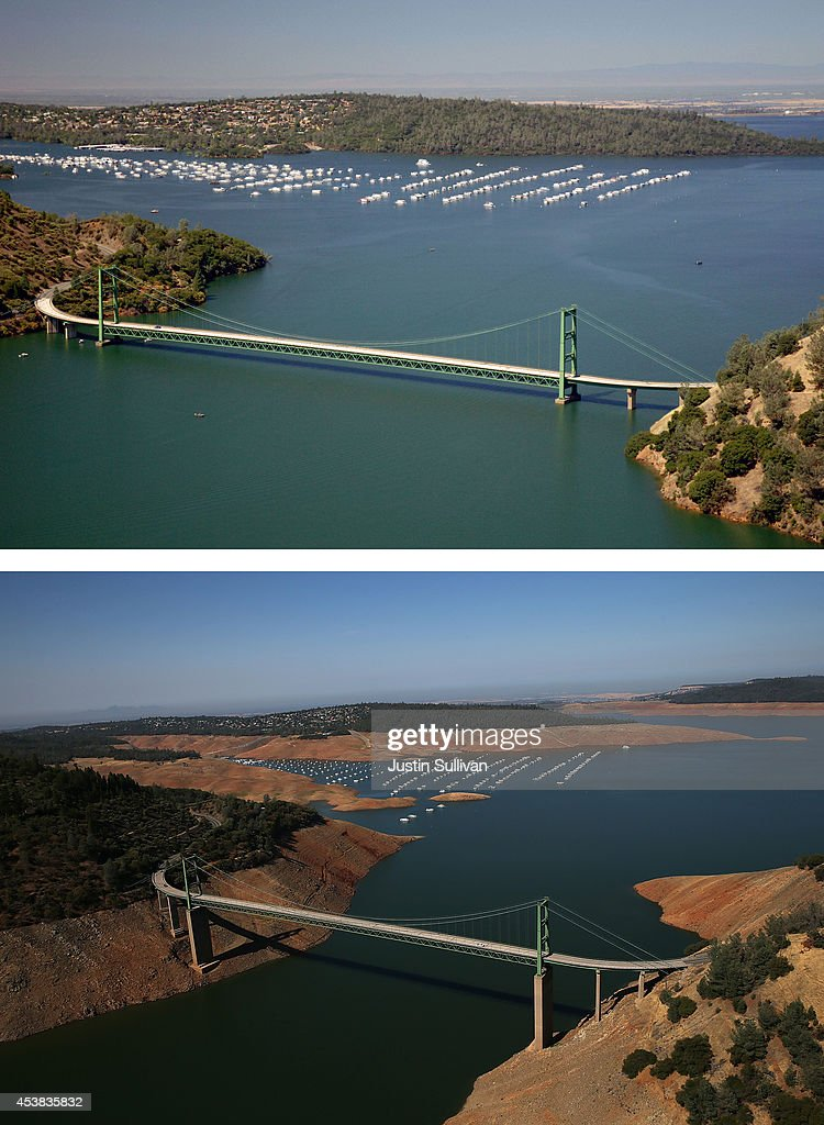 Before And After: Statewide Drought Takes Toll On California's Lake Oroville Water Level : News Photo
