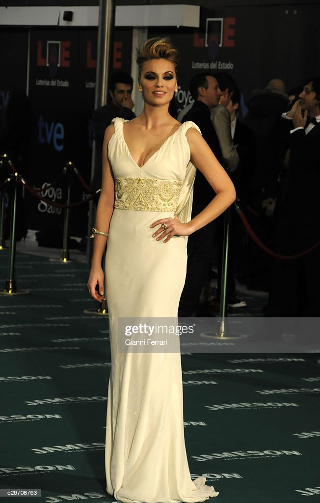 The 'green carpet' for the arrival of the 'stars' in the film award 'Goya' in the 'Palacio Municipal de Congresos' of Madrid. The arrival of the Spanish actress Norme Ruiz,14th February 2010, Spain. (Photo by Gianni Ferrari/Cover/Getty Images).