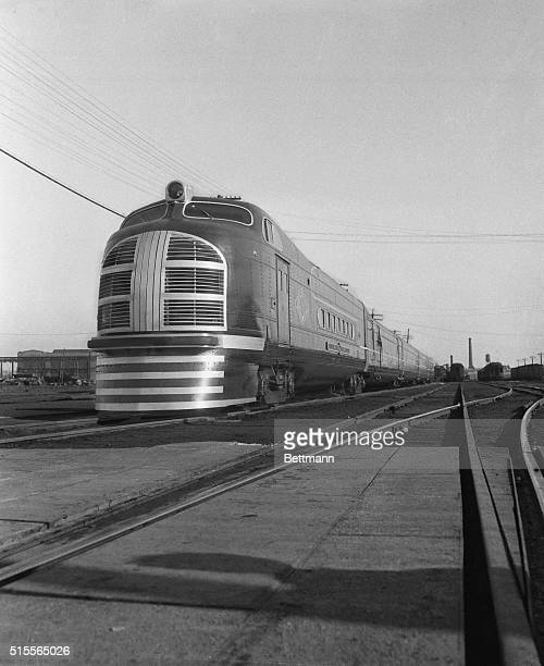 The Green Diamond the diesel electric streamlined train of the Illinois Central Railroad which was put into service between Chicago and St Louis is...
