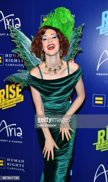 The Green Fairy character from the show 'Absinthe' attends the Human Rights Campaign's 13th annual Las Vegas Gala at the Aria Resort Casino on May 12...