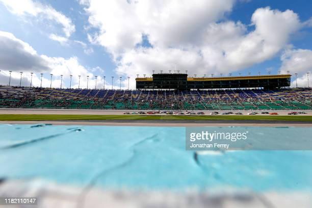 The green flag waves at the start of the NASCAR Xfinity Series Kansas Lottery 300 at Kansas Speedway on October 19, 2019 in Kansas City, Kansas.