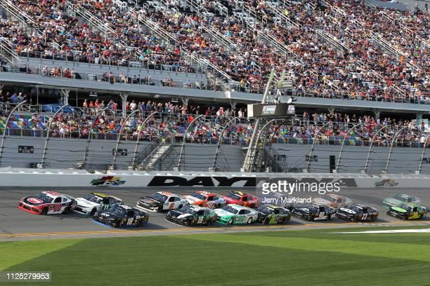 The green flag waves during the NASCAR Xfinity Series NASCAR Racing Experience 300 at Daytona International Speedway on February 16 2019 in Daytona...