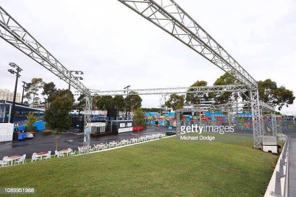 The green hill is seen infront of artwork on show court three during a practice session ahead of the 2019 Australian Open at Melbourne Park on...