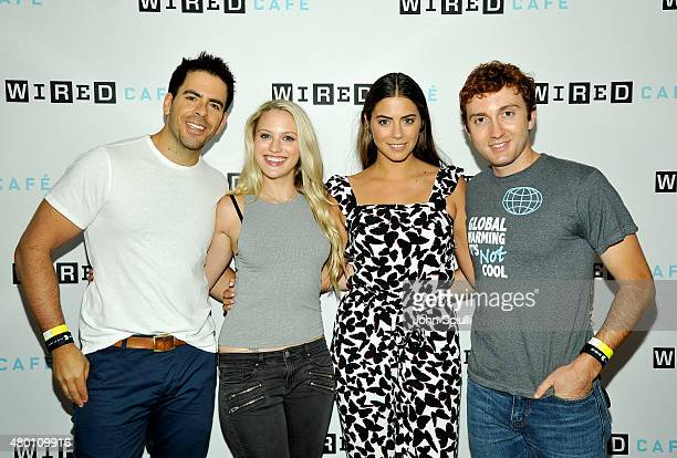 The Green Inferno director Eli Roth and The Green Inferno actors Kirby Bliss Blanton Lorenza Izzo and Daryl Sabara attend WIRED Cafe at Comic Con...