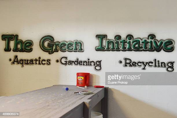 The Green Initiative sign painted on the wall at Marion Correctional Institution on December 3 2014 in Marion Ohio
