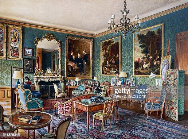The Green lounge in Hotel Schneider in Paris 34 cours Albert I by Alexandre Serebriakoff watercolour France 20th century