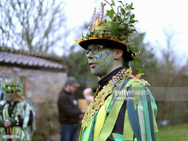 The Green Man at an orchardvisiting wassail in Kilham village Yorkshire Wolds UK on 21st January 2017 Wassail is a traditional Pagan winter...
