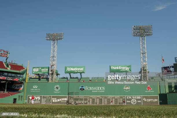 The Green Monster is shown before a game between the Boston Red Sox and the Tampa Bay Rays on April 16 2017 at Fenway Park in Boston Massachusetts