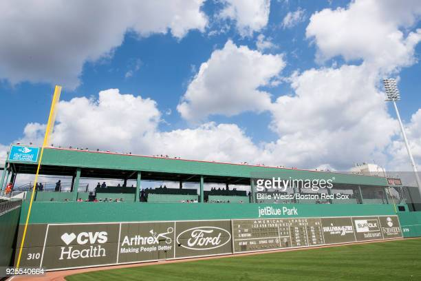 The Green Monster is shown during a game between the Boston Red Sox and the Pittsburgh Pirates at JetBlue Park at Fenway South on February 28 2018 in...