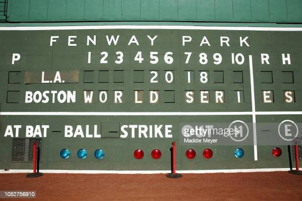 The Green Monster scoreboard is seen ahead of the 2018 World Series between the Los Angeles Dodgers and the Boston Red Sox at Fenway Park on October...
