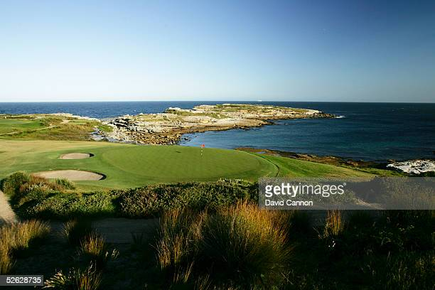 The green on the 177 metre par 3 6th hole looking back to the tee with the waters of Botany Bay behind on the New South Wales Golf Club course on...