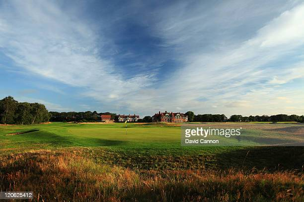 The green on the 206 yards par 3 1st hole at Royal Lytham and St Annes Golf Club the venue for the 2012 Open Championship on July 25 2011 in Lytham...