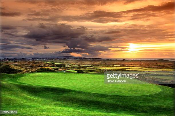 The green on the 210 yards par3, 14th hole 'Calamity Corner' on the Dunluce Course looking back over the Valley Course towards the town pf Portrush...