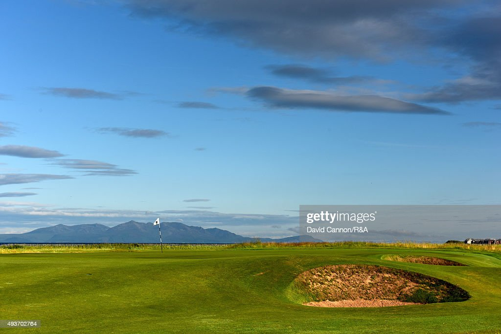 The green on the 222 yards par 3, 17th hole 'Rabbit' on the Old Course at Royal Troon with the Isle of Arran behind venue for the 2016 Open Championship on July 29, 2015 in Troon, Scotland.