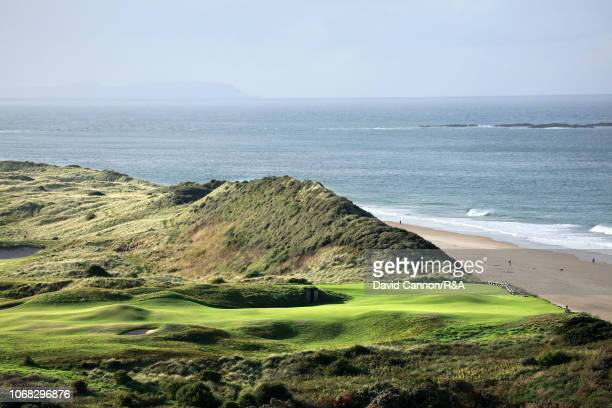 The green on the 382 yards par 4, fifth hole 'White Rocks' at Royal Portrush Golf Club the venue for The Open Championship 2019 on September 12, 2018...