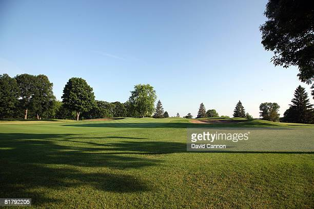 The green on the 390 yds par 4, 2nd hole on the course at Hazeltine National Golf Club, venue for the 2009 PGA Championship, on July 1, 2008 in...