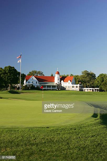 The green on the 393 yard par 4 15th hole with the clubhouse behind at The Chicago Golf Club venue for the 2005 Walker Cup Matches on September 07...