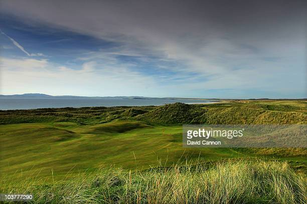 The green on the 395 yards par 4, 7th hole 'Scot's Maiden' at The Machrie Hotel and Golf Links on August 31, 2010 in Machrie, on the Island of Islay,...
